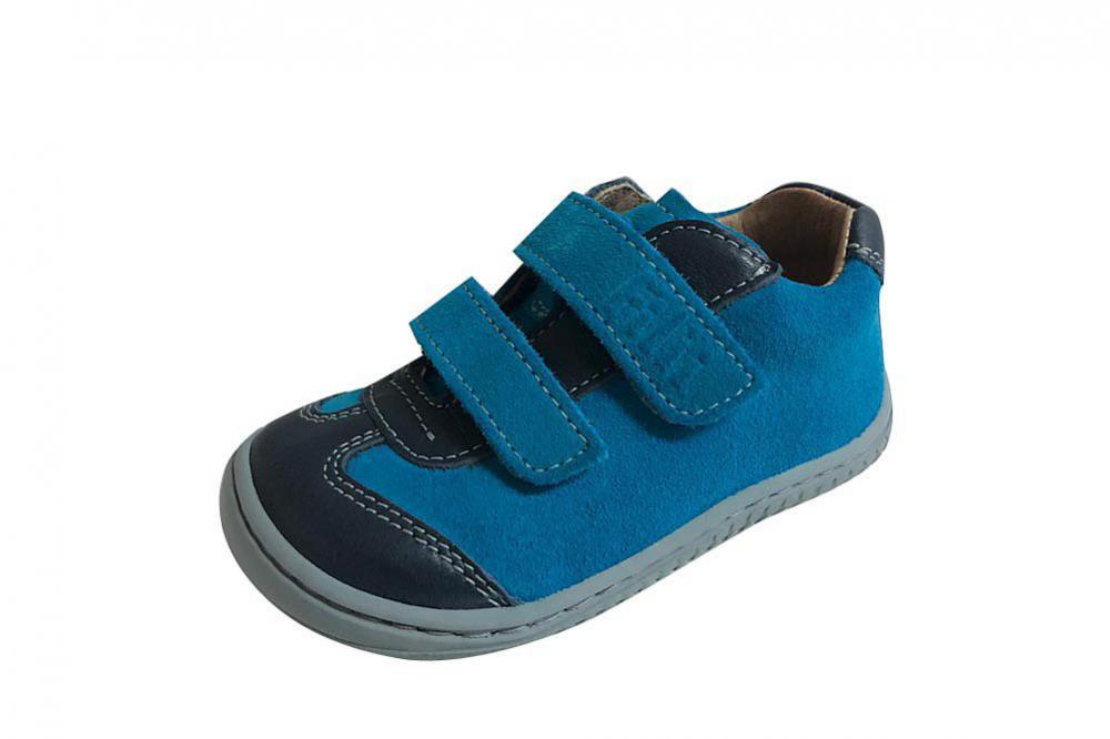 Filii barefoot Leguan Velcro Nappa/Velours Ocean/Turquoise