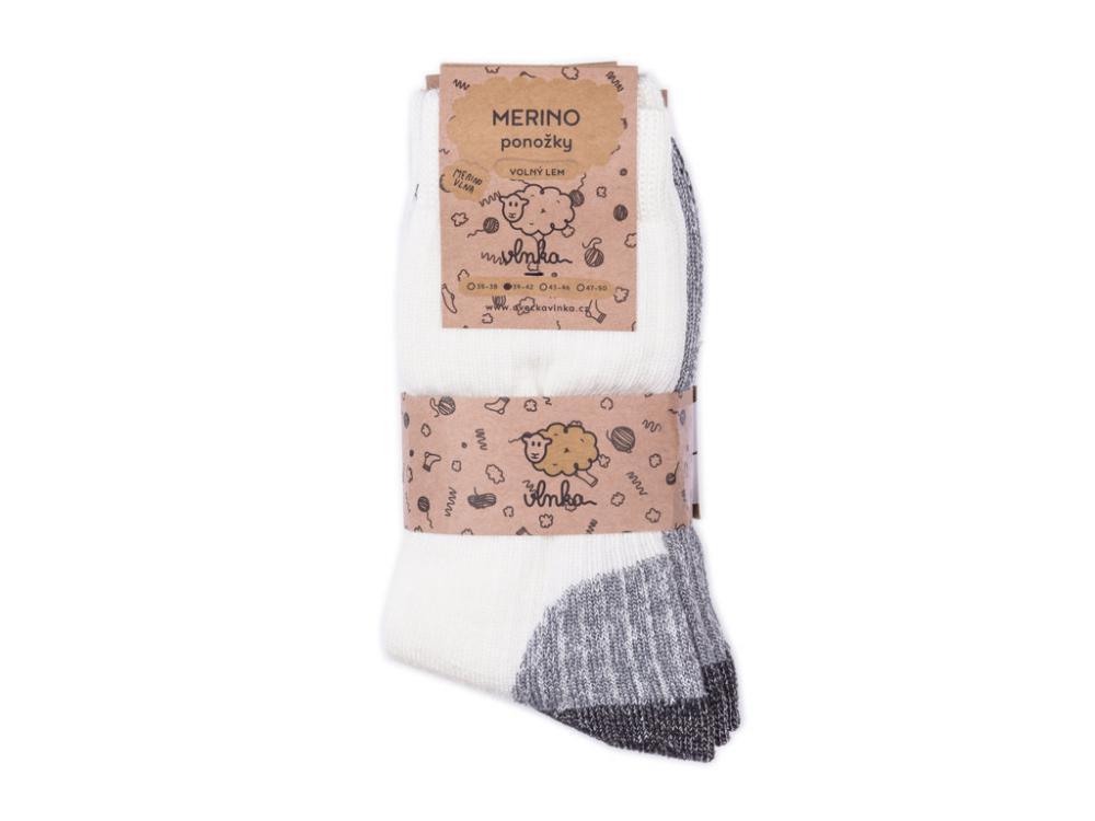Ovčí ponožky Merino se zdravotním lemem, krémová