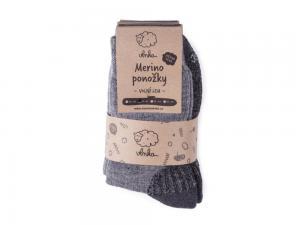 Ovčí ponožky Merino se zdravotním lemem, tmavě šedá náhled